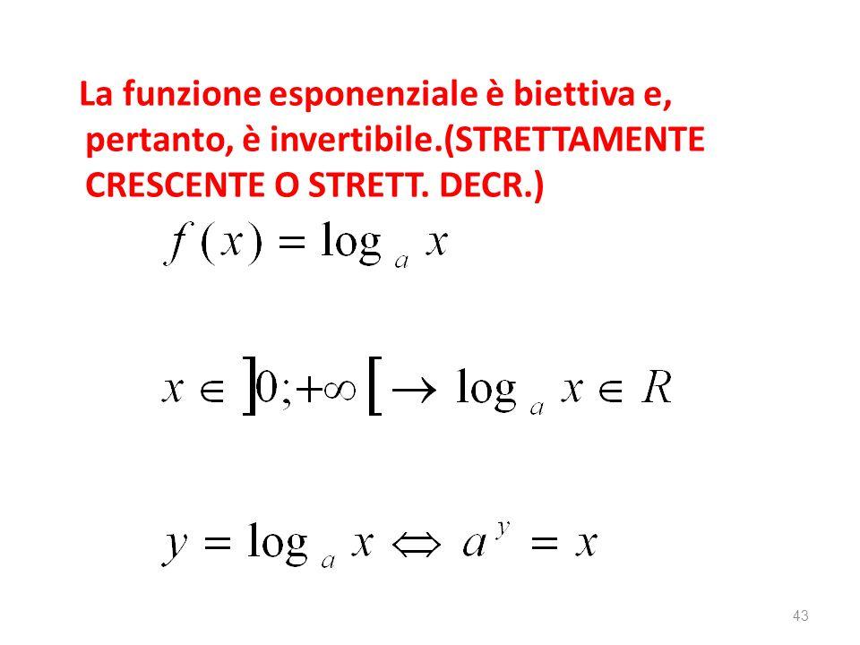 La funzione esponenziale è biettiva e, pertanto, è invertibile