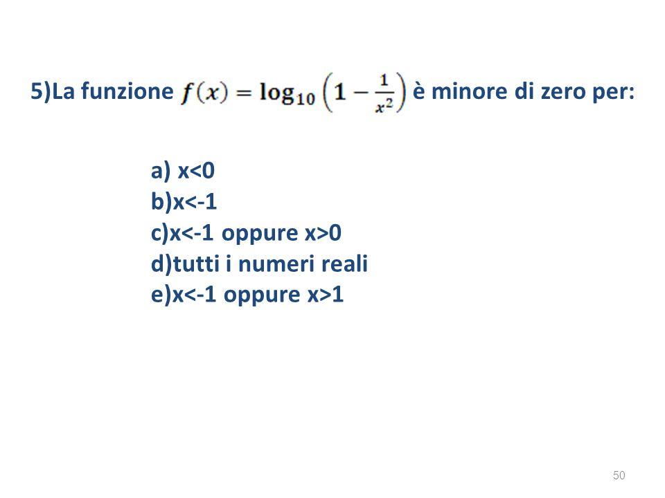 5)La funzione è minore di zero per: a) x<0. b)x<-1.