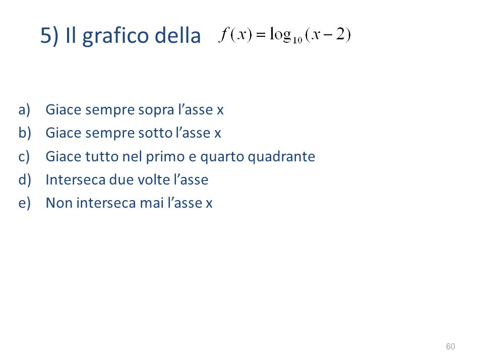 5) Il grafico della Giace sempre sopra l'asse x