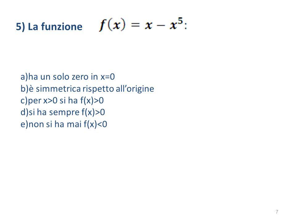 5) La funzione a)ha un solo zero in x=0