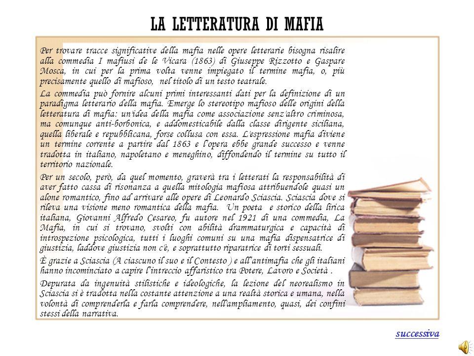 LA LETTERATURA DI MAFIA