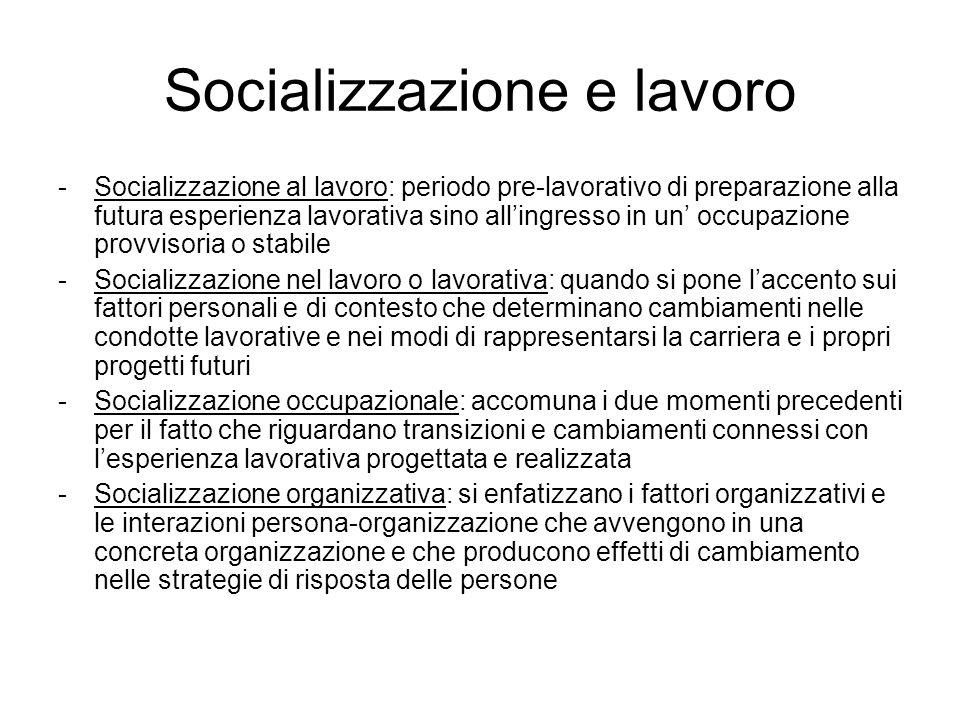 Socializzazione e lavoro