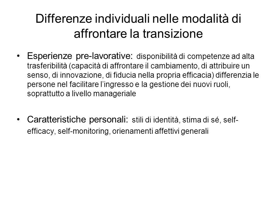 Differenze individuali nelle modalità di affrontare la transizione