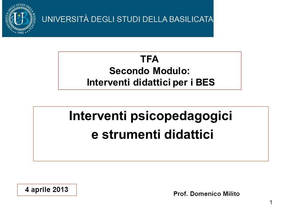 Interventi psicopedagogici e strumenti didattici
