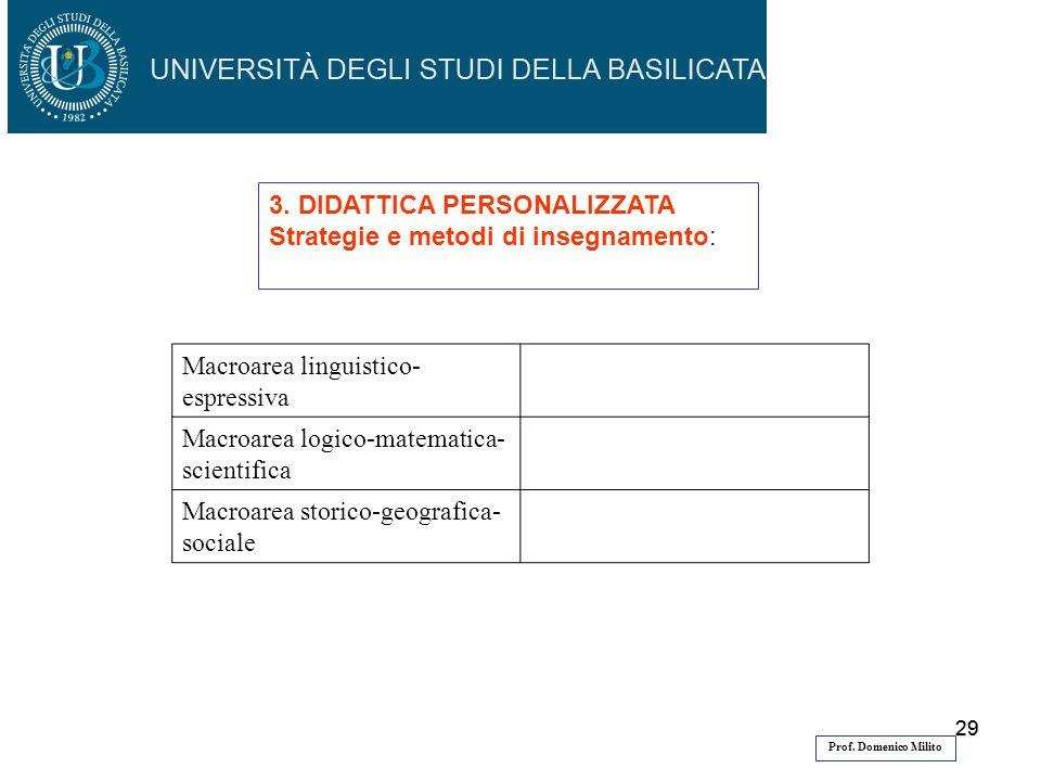 3. DIDATTICA PERSONALIZZATA Strategie e metodi di insegnamento:
