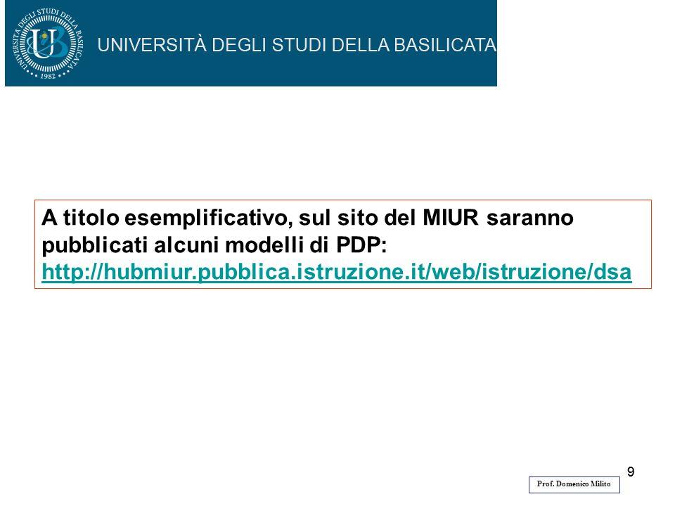A titolo esemplificativo, sul sito del MIUR saranno pubblicati alcuni modelli di PDP:
