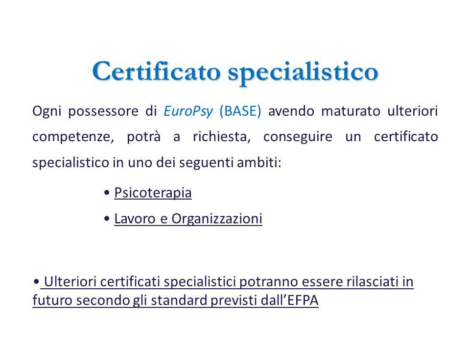 Certificato specialistico