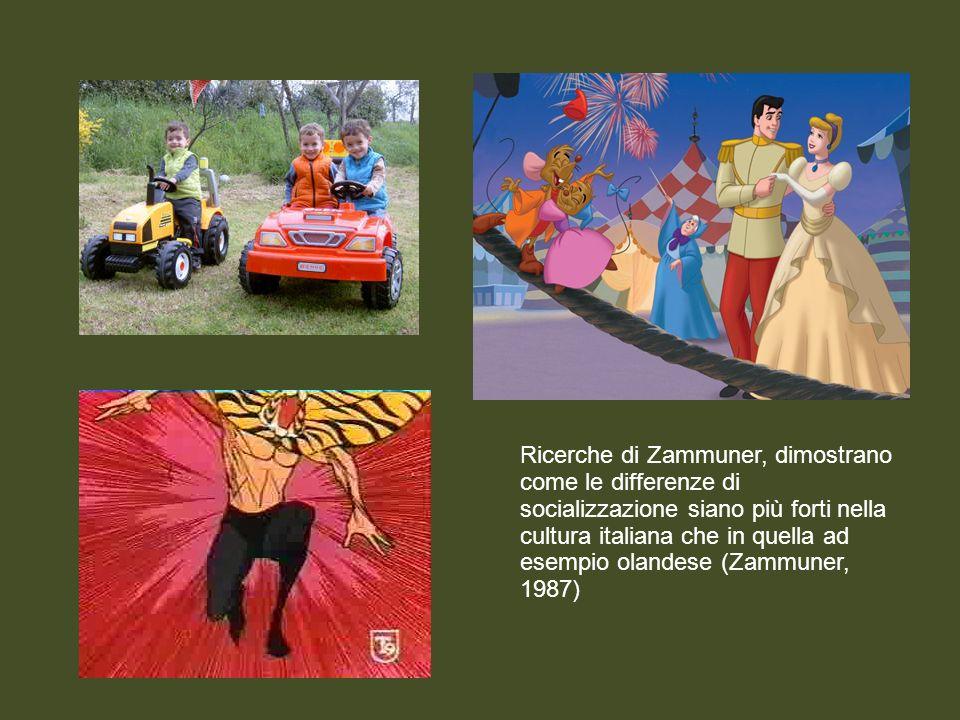 Ricerche di Zammuner, dimostrano come le differenze di socializzazione siano più forti nella cultura italiana che in quella ad esempio olandese (Zammuner, 1987)