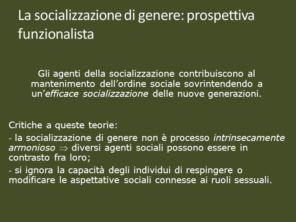 La socializzazione di genere: prospettiva funzionalista