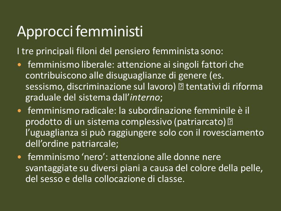17171717 Approcci femministi. I tre principali filoni del pensiero femminista sono: