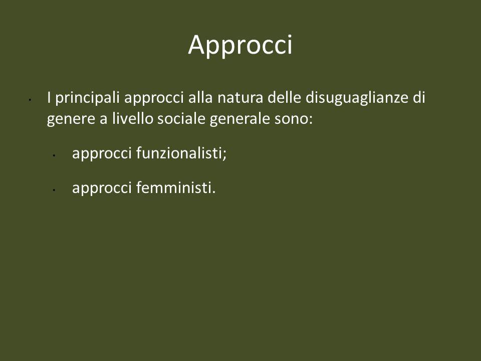 Approcci I principali approcci alla natura delle disuguaglianze di genere a livello sociale generale sono: