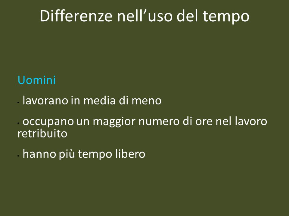 Differenze nell'uso del tempo
