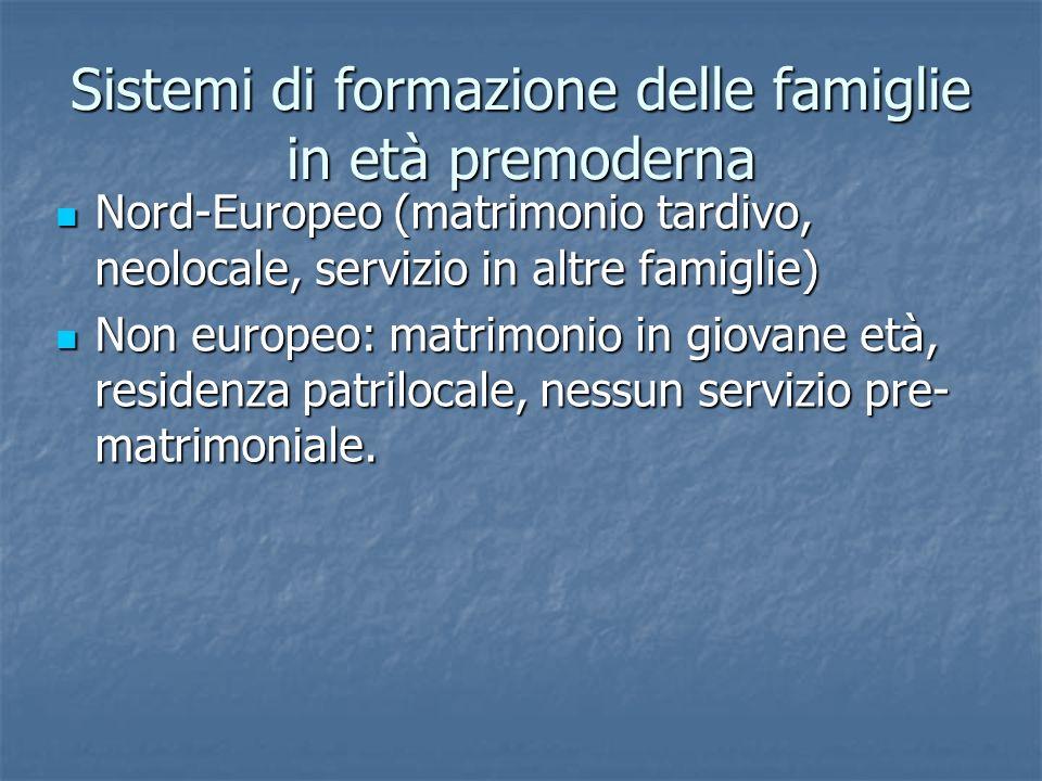 Sistemi di formazione delle famiglie in età premoderna