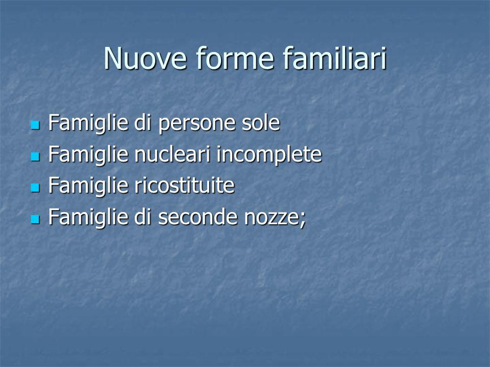 Nuove forme familiari Famiglie di persone sole