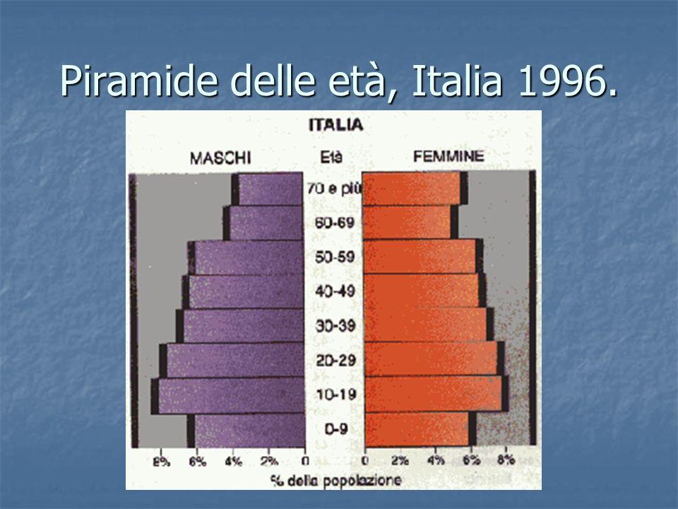 Piramide delle età, Italia 1996.