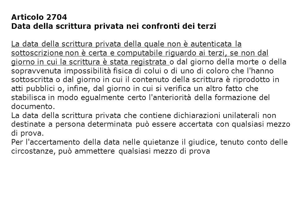 Articolo 2704 Data della scrittura privata nei confronti dei terzi