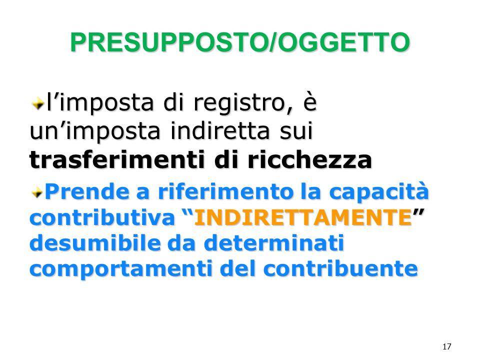 Vincenzo Carbone PRESUPPOSTO/OGGETTO. l'imposta di registro, è un'imposta indiretta sui trasferimenti di ricchezza.