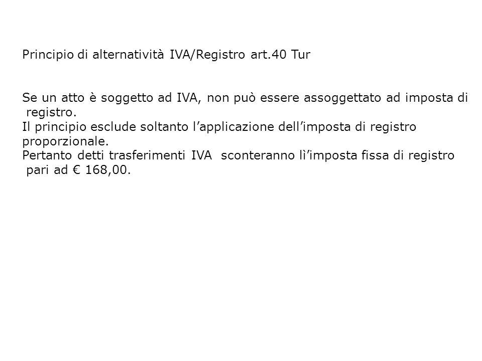 Principio di alternatività IVA/Registro art.40 Tur