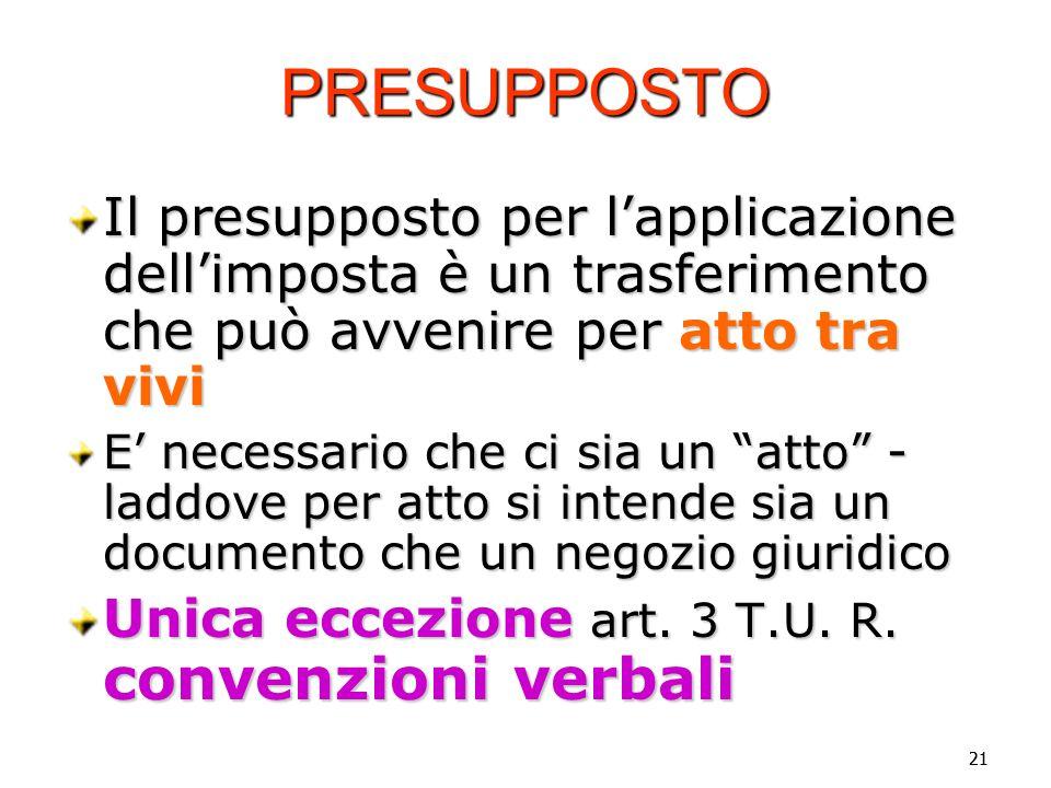 Vincenzo Carbone PRESUPPOSTO. Il presupposto per l'applicazione dell'imposta è un trasferimento che può avvenire per atto tra vivi.