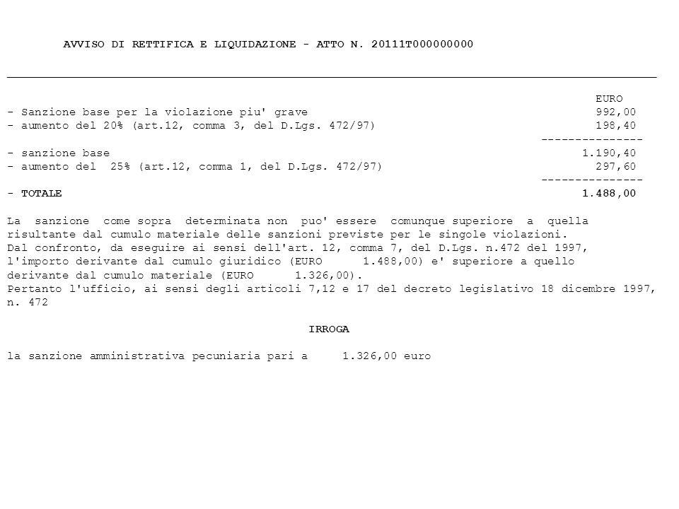 - Sanzione base per la violazione piu grave 992,00