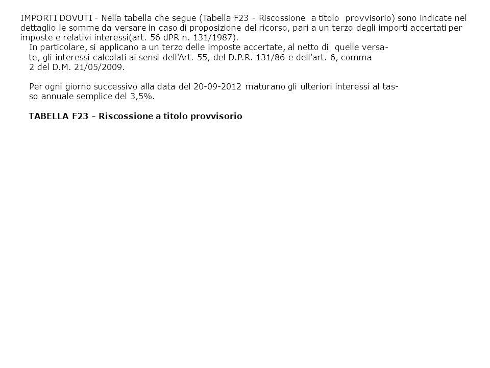 IMPORTI DOVUTI - Nella tabella che segue (Tabella F23 - Riscossione a titolo provvisorio) sono indicate nel dettaglio le somme da versare in caso di proposizione del ricorso, pari a un terzo degli importi accertati per imposte e relativi interessi(art. 56 dPR n. 131/1987).