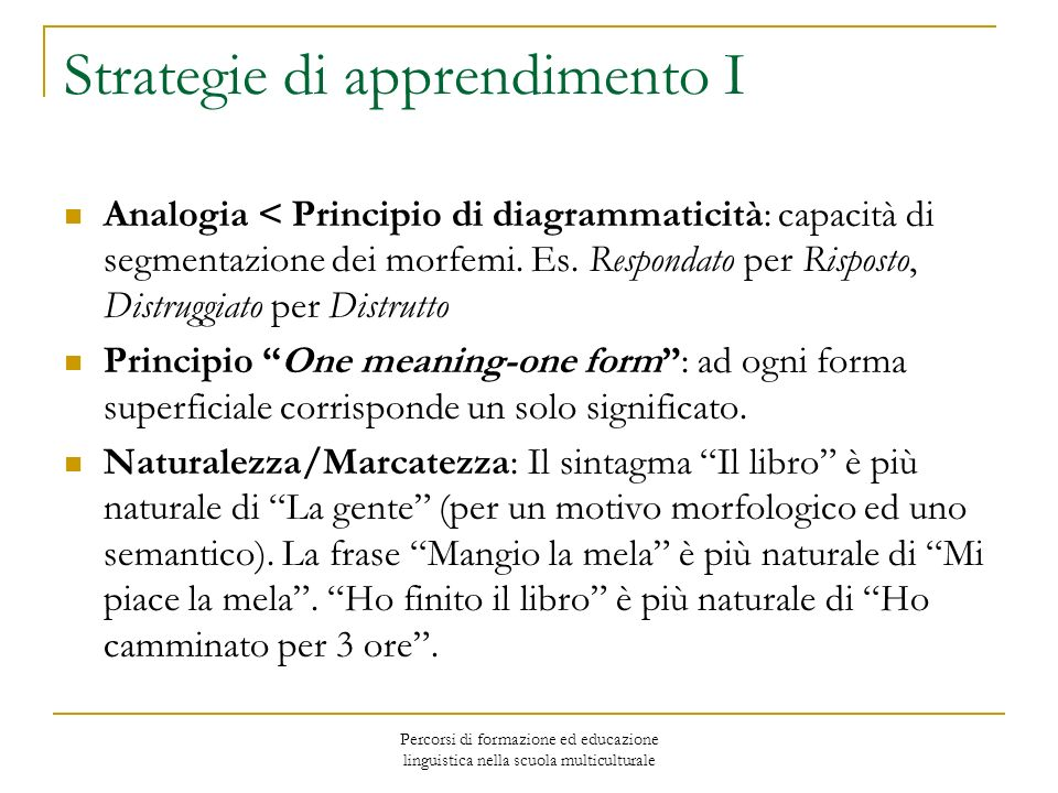 Strategie di apprendimento I