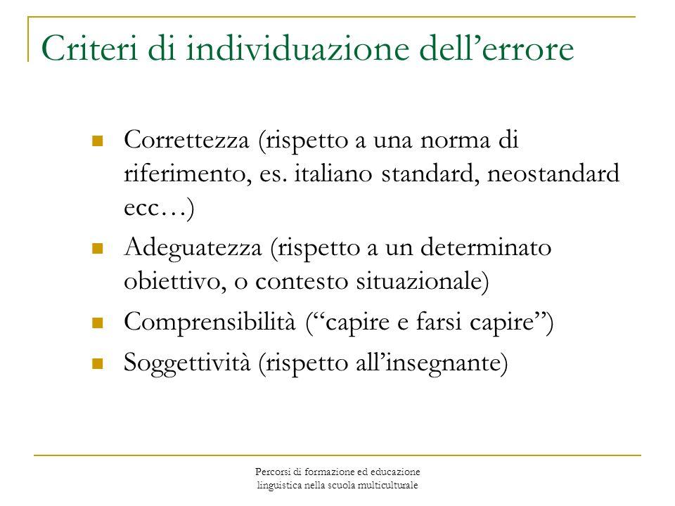 Criteri di individuazione dell'errore