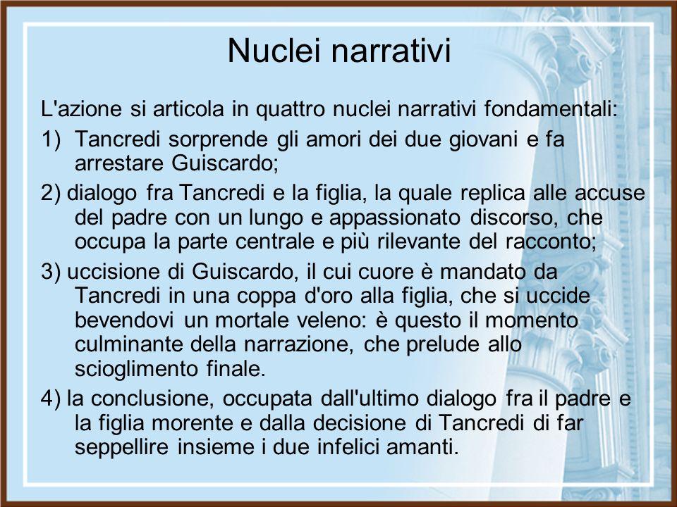 Nuclei narrativi L azione si articola in quattro nuclei narrativi fondamentali: