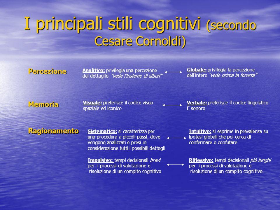 I principali stili cognitivi (secondo Cesare Cornoldi)