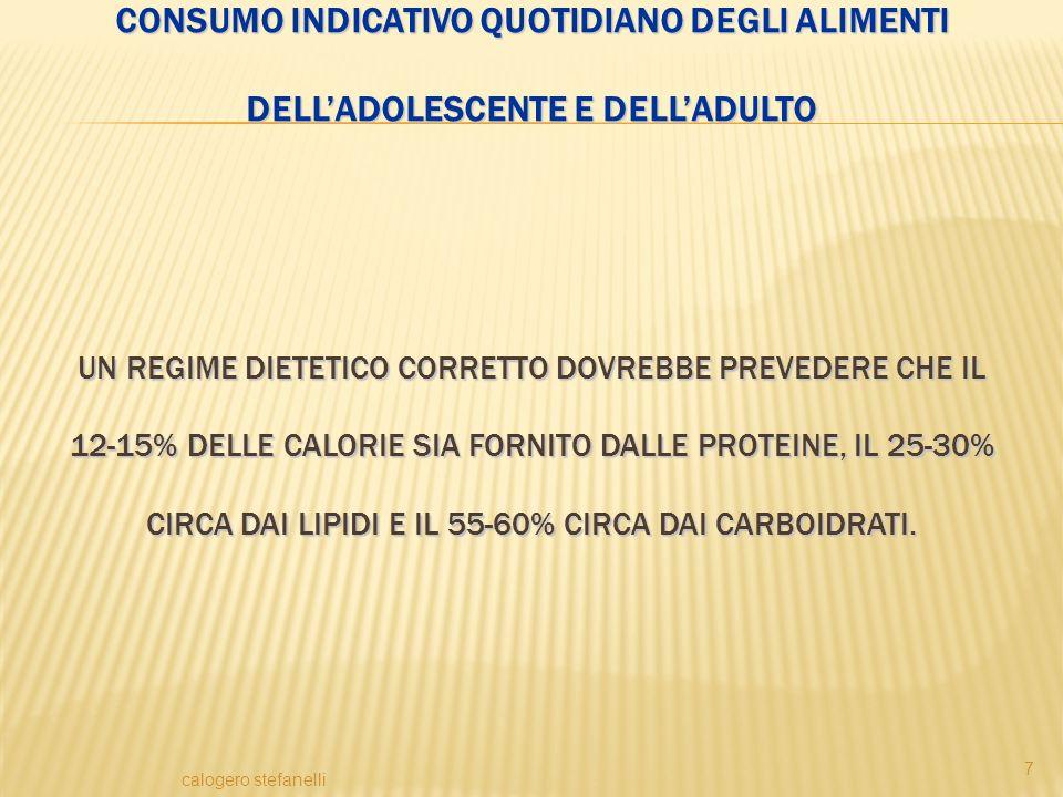 Consumo indicativo quotidiano degli alimenti dell'adolescente e dell'adulto Un regime dietetico corretto dovrebbe prevedere che il 12-15% delle calorie sia fornito dalle proteine, il 25-30% circa dai lipidi e il 55-60% circa dai carboidrati.