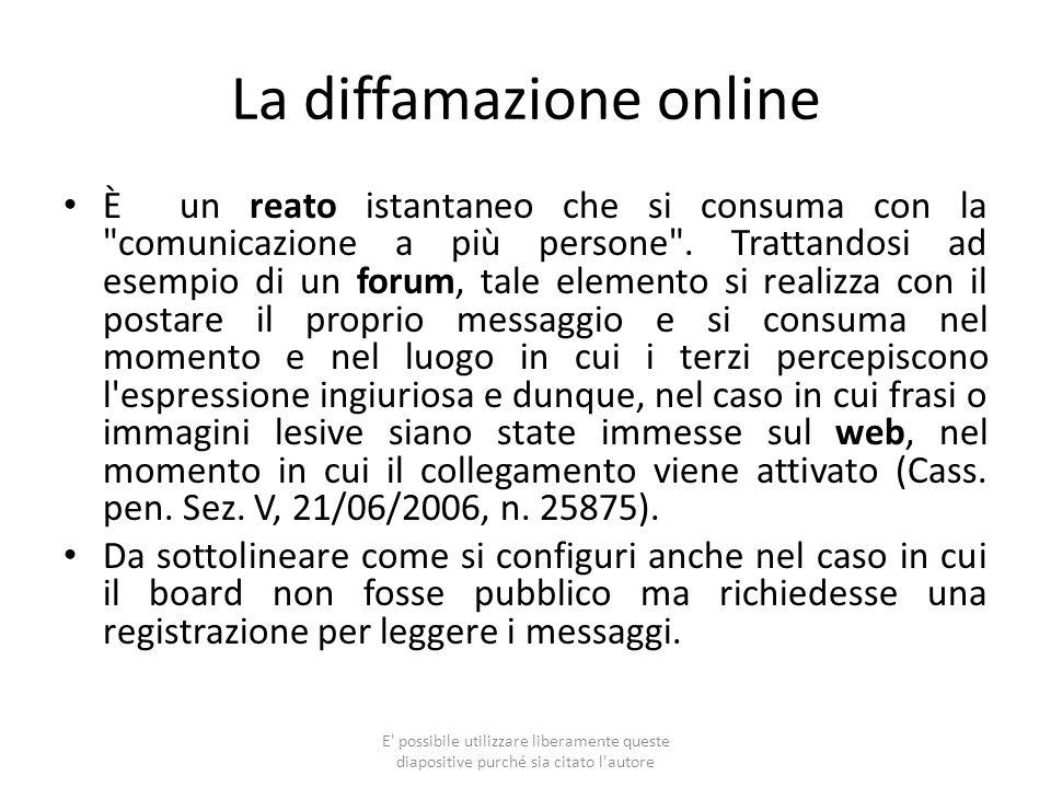 La diffamazione online