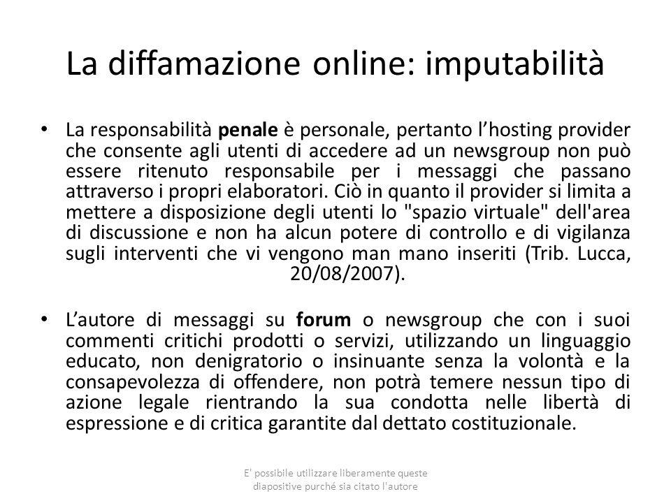 La diffamazione online: imputabilità