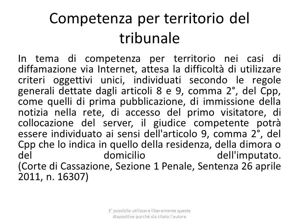 Competenza per territorio del tribunale