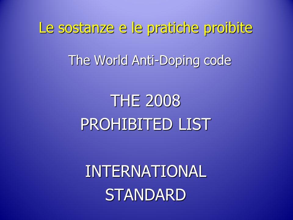 Le sostanze e le pratiche proibite