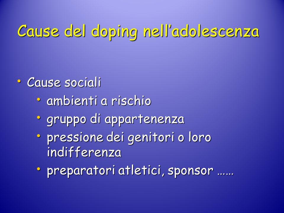 Cause del doping nell'adolescenza