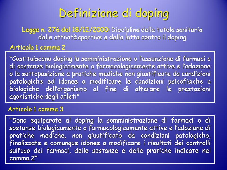 Definizione di doping Legge n. 376 del 18/12/2000: Disciplina della tutela sanitaria delle attività sportive e della lotta contro il doping.