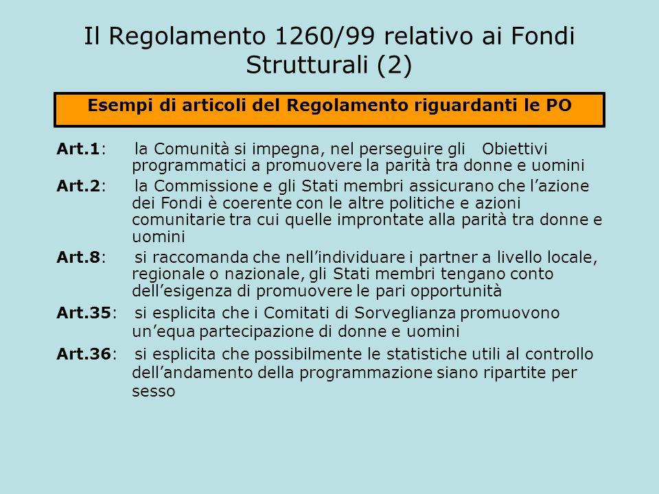Il Regolamento 1260/99 relativo ai Fondi Strutturali (2)