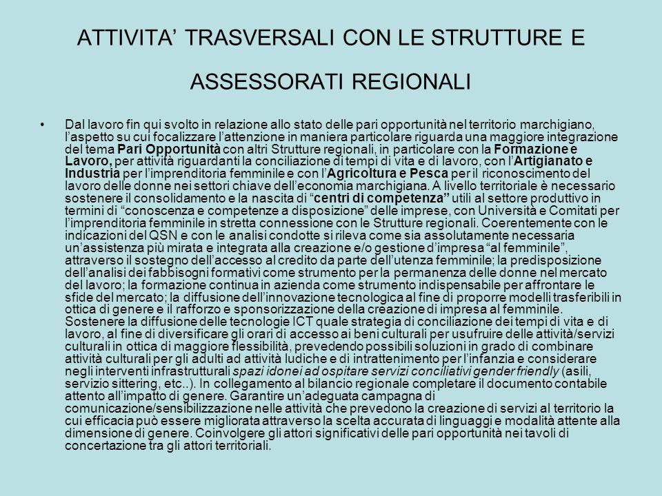 ATTIVITA' TRASVERSALI CON LE STRUTTURE E ASSESSORATI REGIONALI