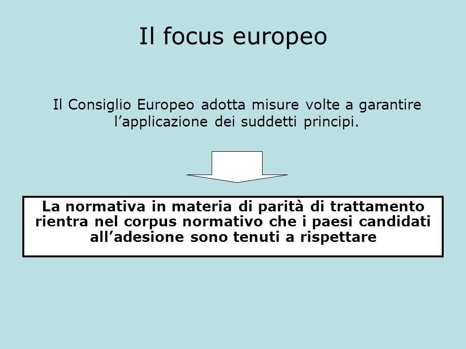 Il focus europeo Il Consiglio Europeo adotta misure volte a garantire l'applicazione dei suddetti principi.