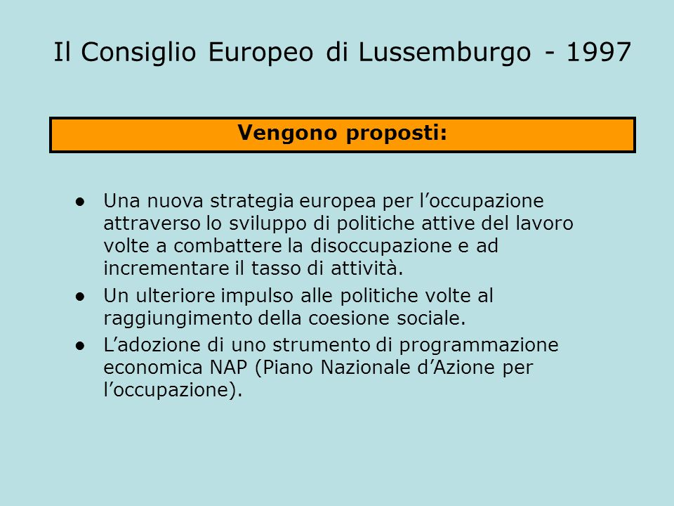 Il Consiglio Europeo di Lussemburgo - 1997
