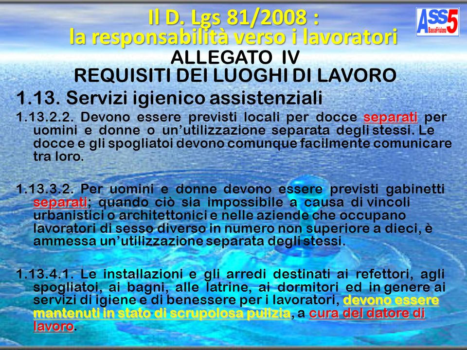 Il D. Lgs 81/2008 : la responsabilità verso i lavoratori