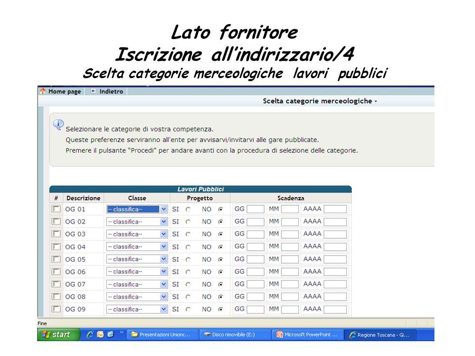 Lato fornitore Iscrizione all'indirizzario/4