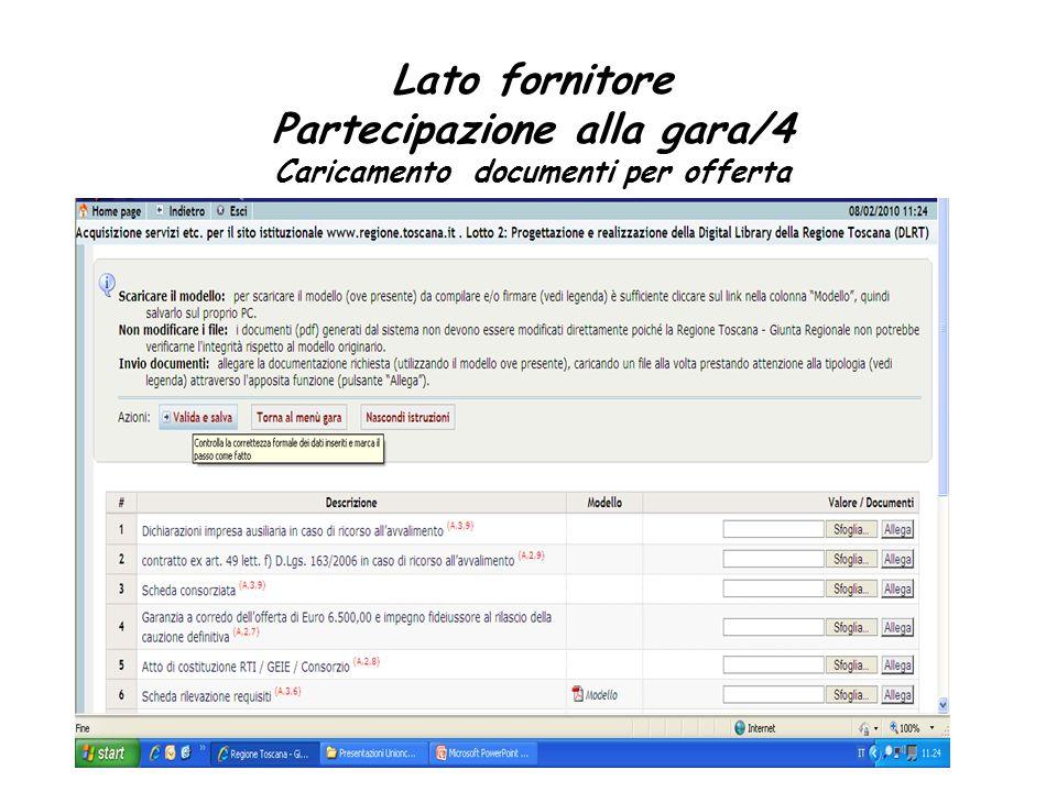 Partecipazione alla gara/4 Caricamento documenti per offerta