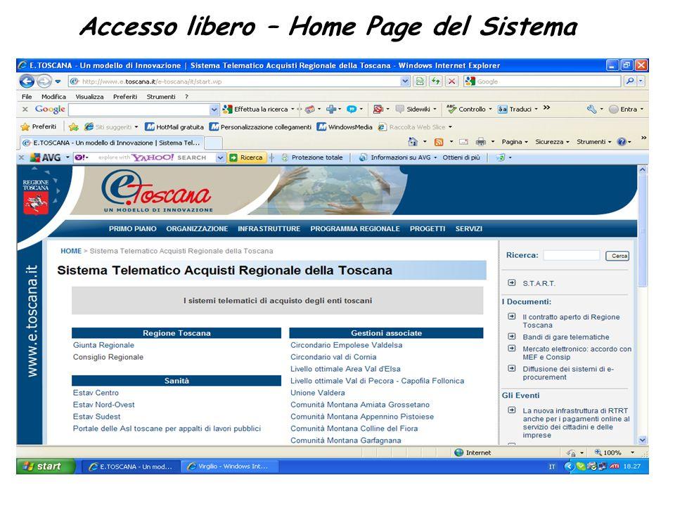 Accesso libero – Home Page del Sistema