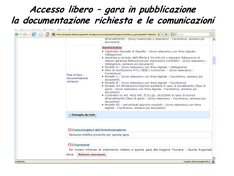 Accesso libero – gara in pubblicazione