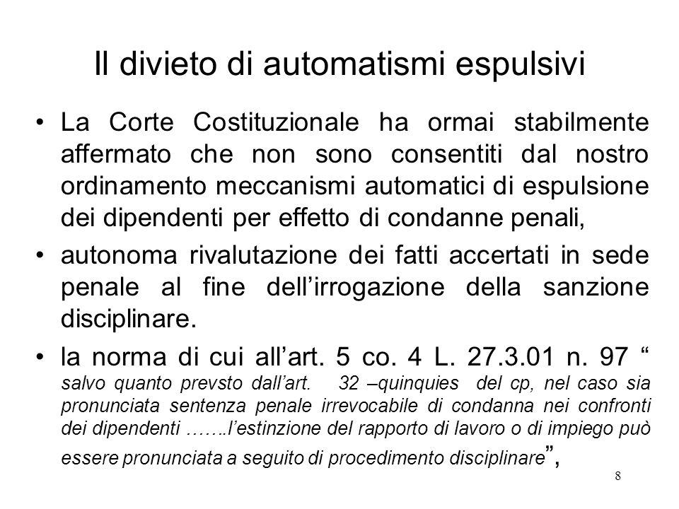 Il divieto di automatismi espulsivi