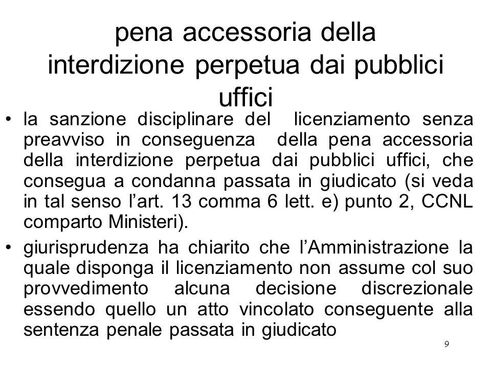 pena accessoria della interdizione perpetua dai pubblici uffici