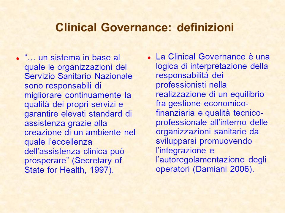 Clinical Governance: definizioni