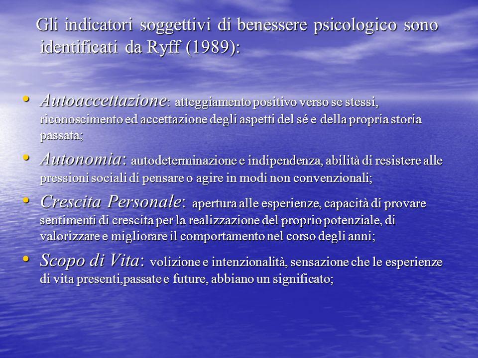 Gli indicatori soggettivi di benessere psicologico sono identificati da Ryff (1989):