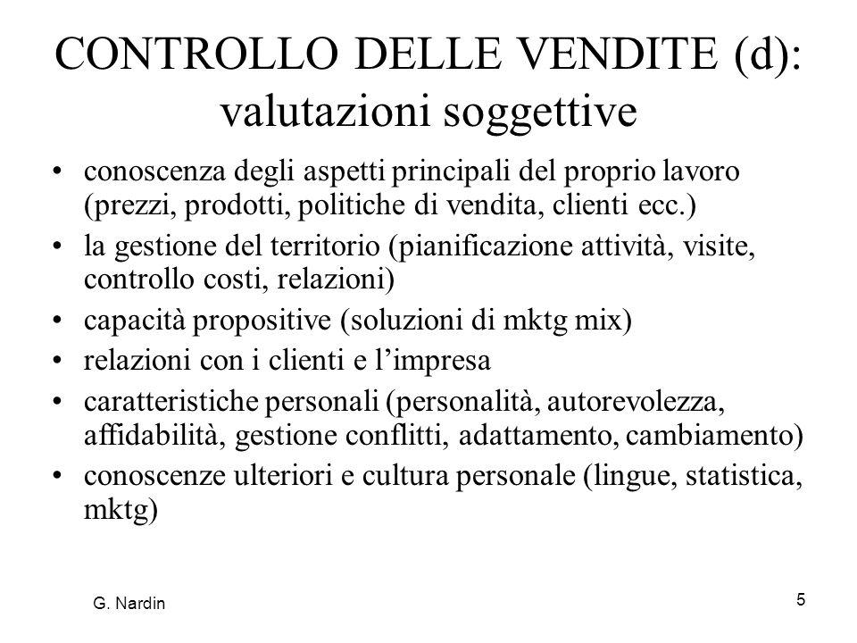 CONTROLLO DELLE VENDITE (d): valutazioni soggettive